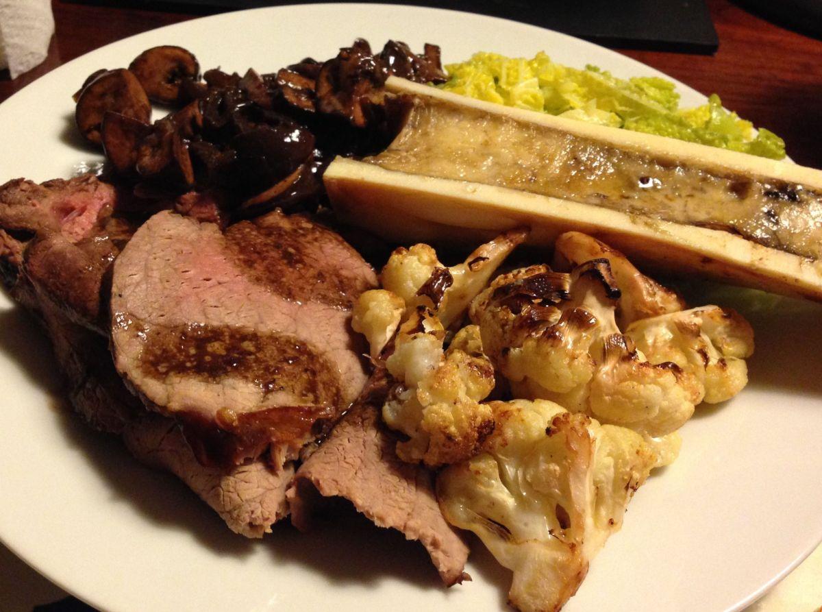 Beef with Mushroom & Onion Gravy, Roasted Cauliflower, Bone Marrow ...