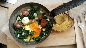 Favourite brunch from M1lk: Baked eggs with chorizo, spinach and labneh. Ignore the bread!