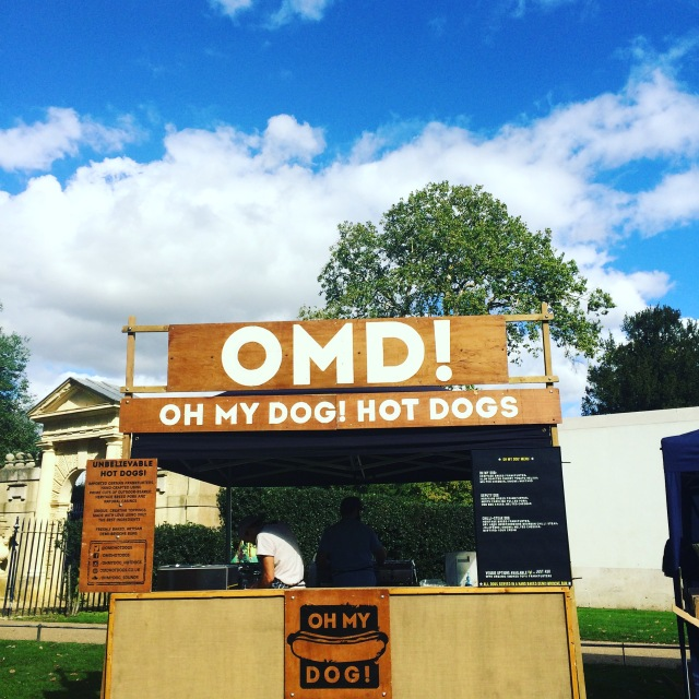 Premium hotdogs from OMD. Also, look at that blue blue sky!