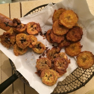 Plantains fried three ways. Clockwise from top right: Double fried; boiled then baked; boiled then fried