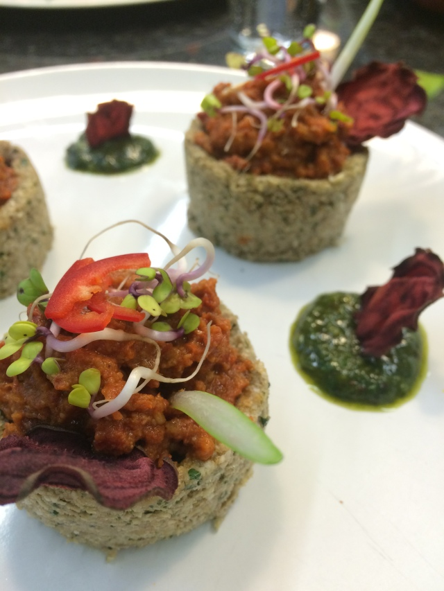 Raw tomato tarts, made on the Natural Chef Course on Raw Food day