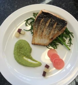 Fish Main Course - Pan Fried Sea Trout with Foraged Norfolk Samphire, Pea and Mint Puree and Pickled Radishes and Beetroot